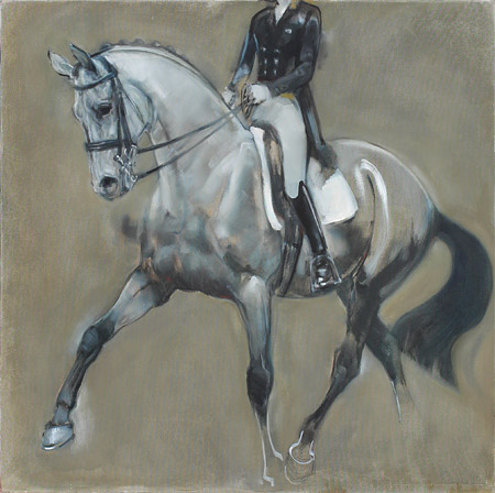 Rosemary Parcell horse paintings, grey over gold